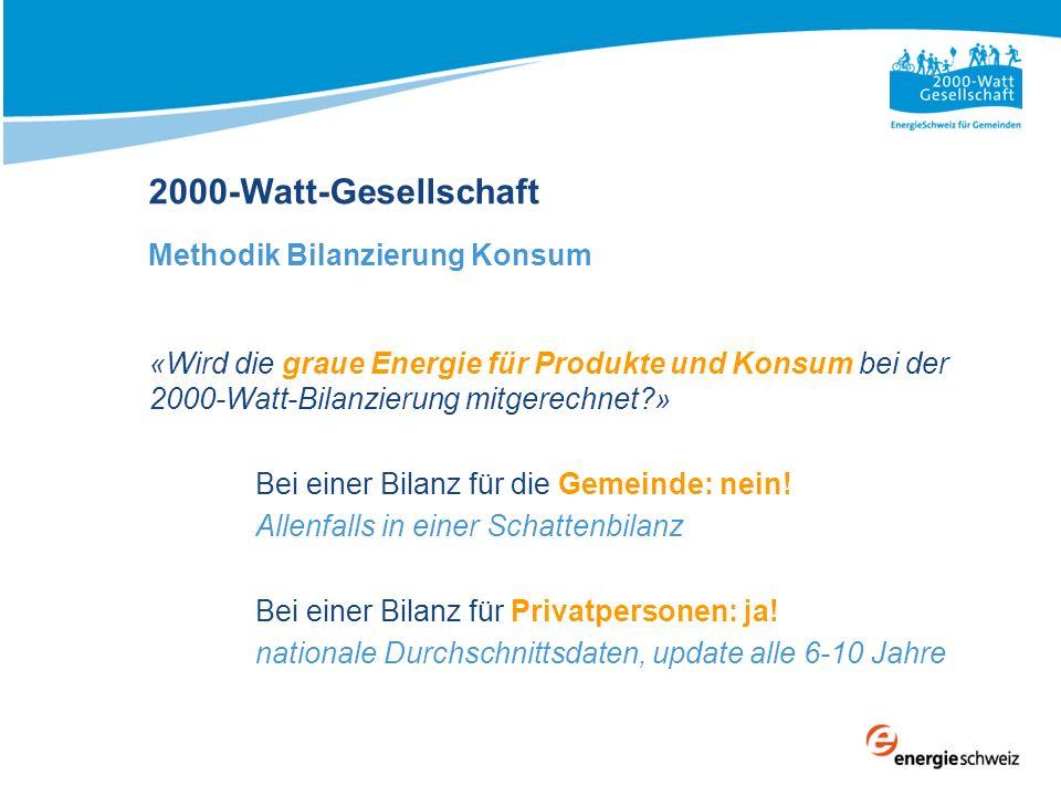 «Wird die graue Energie für Produkte und Konsum bei der 2000-Watt-Bilanzierung mitgerechnet?» Bei einer Bilanz für die Gemeinde: nein! Allenfalls in e