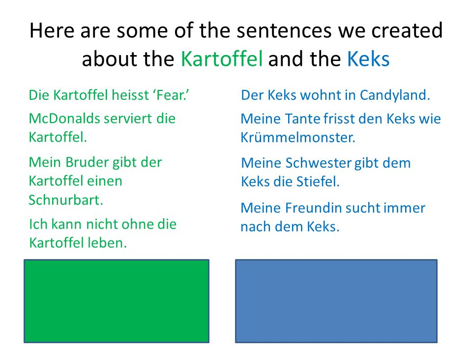 Here are some of the sentences we created about the Kartoffel and the Keks Die Kartoffel heisst Fear.Der Keks wohnt in Candyland. McDonalds serviert d