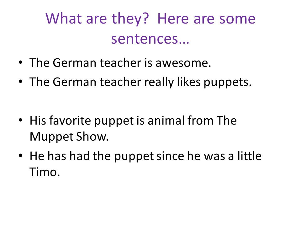 What are they? Here are some sentences… The German teacher is awesome. The German teacher really likes puppets. His favorite puppet is animal from The