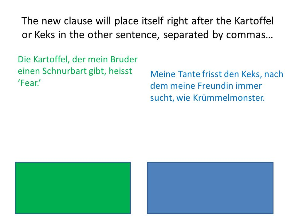The new clause will place itself right after the Kartoffel or Keks in the other sentence, separated by commas… Die Kartoffel, der mein Bruder einen Sc