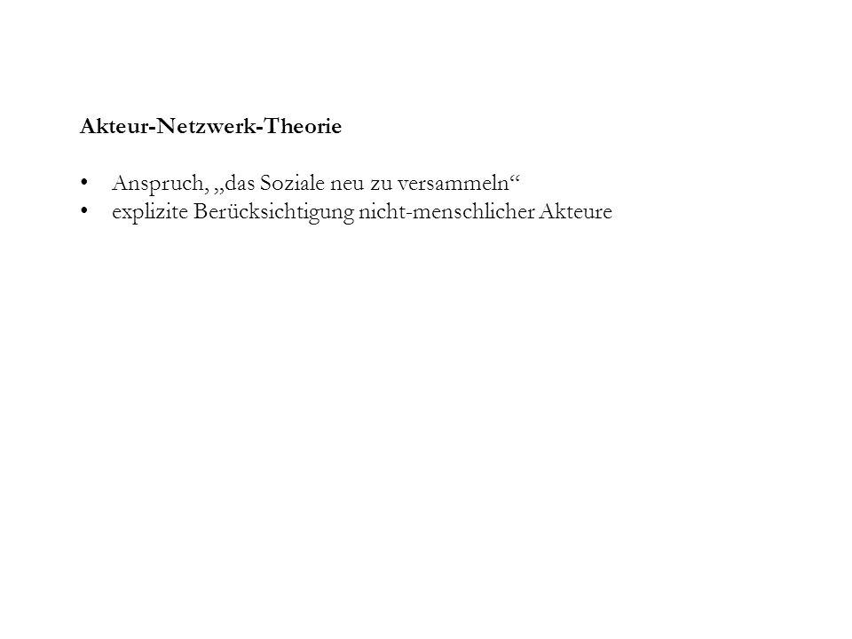 Akteur-Netzwerk-Theorie Anspruch, das Soziale neu zu versammeln explizite Berücksichtigung nicht-menschlicher Akteure
