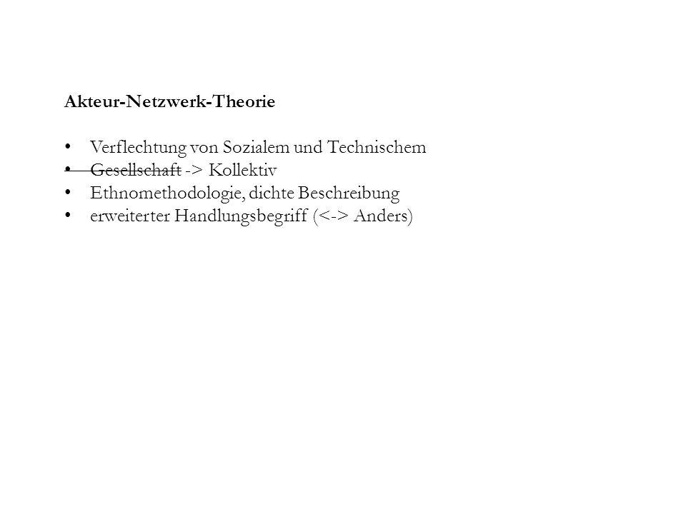 Akteur-Netzwerk-Theorie Verflechtung von Sozialem und Technischem Gesellschaft -> Kollektiv Ethnomethodologie, dichte Beschreibung erweiterter Handlungsbegriff ( Anders)