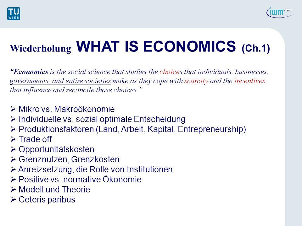 THE ECONOMIC Problem (Ch.2) ZIEL: Definition der Produktionsmöglichkeitenkurve (PPF) & der Opportunitätskosten Unterscheidung zw.