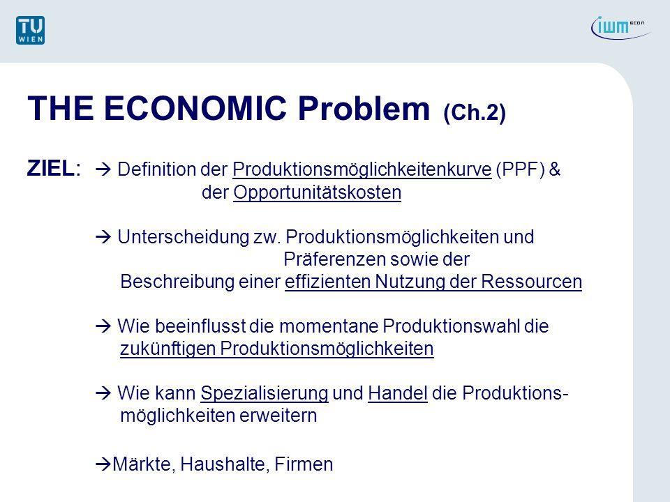 PPF & Opportunitätskosten PPF = Definiert die Kombination von Gütern und Dienstleistungen welche bei gegebene Ressourcen und Technologien produziert werden können.