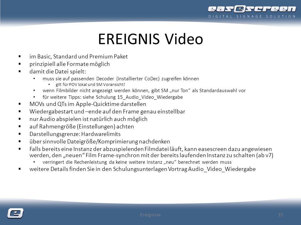 EREIGNIS Video im Basic, Standard und Premium Paket prinzipiell alle Formate möglich damit die Datei spielt: muss sie auf passenden Decoder (installie