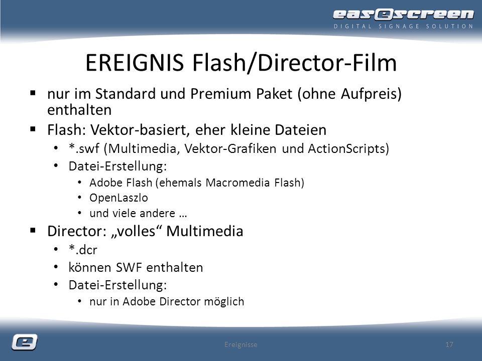 EREIGNIS Flash/Director-Film nur im Standard und Premium Paket (ohne Aufpreis) enthalten Flash: Vektor-basiert, eher kleine Dateien *.swf (Multimedia,