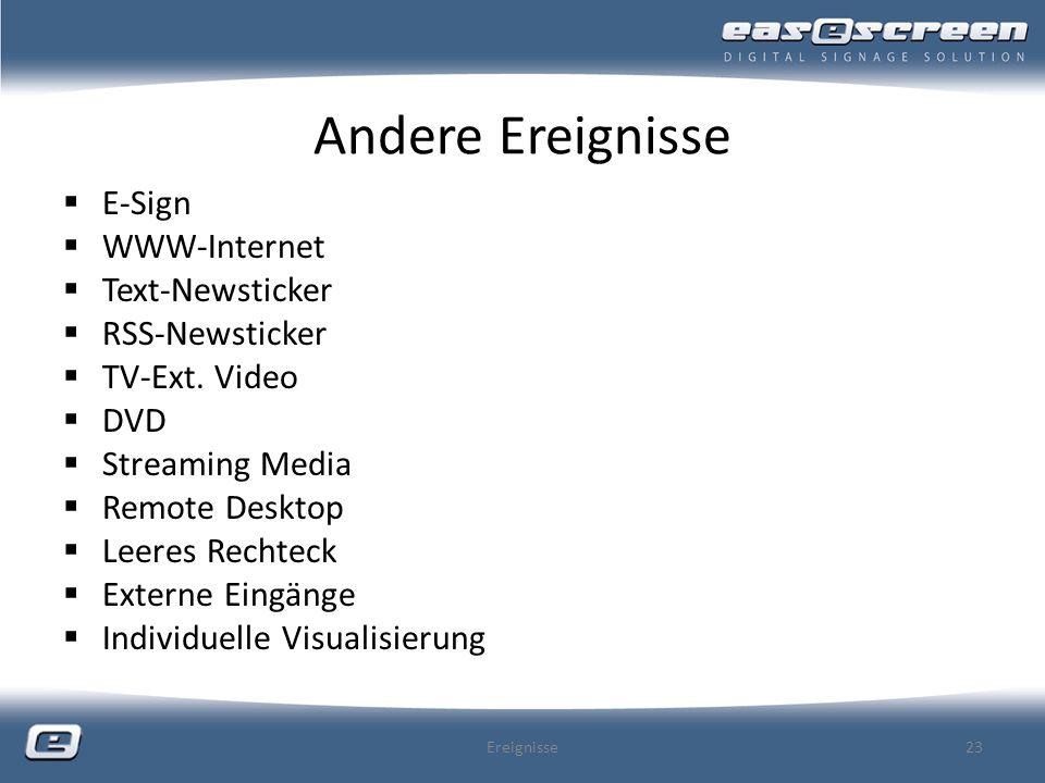 Andere Ereignisse E-Sign WWW-Internet Text-Newsticker RSS-Newsticker TV-Ext. Video DVD Streaming Media Remote Desktop Leeres Rechteck Externe Eingänge