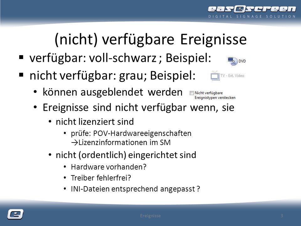 EREIGNIS Streaming Media nur im Premium Paket (ohne Aufpreis) enthalten angegebene Netzressource muss vom POV aus erreichbar sein (PULL- Ausnahme) entsprechender funktionstüchtiger Decoder (-> CoDec) am POV zwingend notwendig sofern Voransicht gewünscht ist: auch auf der SM-Maschine Sources: MMS (Microsoft Media Server Protokoll), (AX)RT(S)P, … können eingebunden werden Playlisten (ASX) können mit diesem Ereignis nicht eingebunden werden Streams zur Auswahl nachhaltig in der Registerkarte StreamingURLs unter Optionen im SM anlegbar Ereignisse34