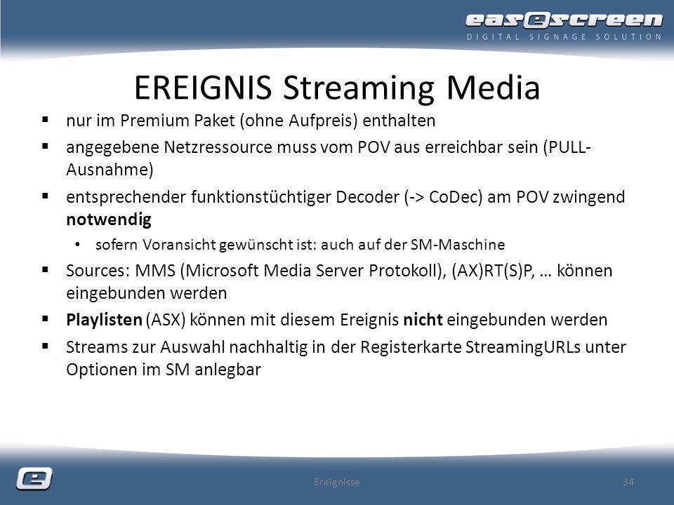 EREIGNIS Streaming Media nur im Premium Paket (ohne Aufpreis) enthalten angegebene Netzressource muss vom POV aus erreichbar sein (PULL- Ausnahme) ent