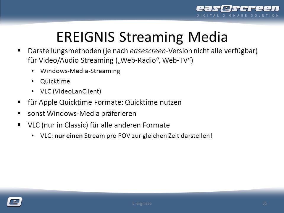 EREIGNIS Streaming Media Darstellungsmethoden (je nach easescreen-Version nicht alle verfügbar) für Video/Audio Streaming (Web-Radio, Web-TV) Windows-