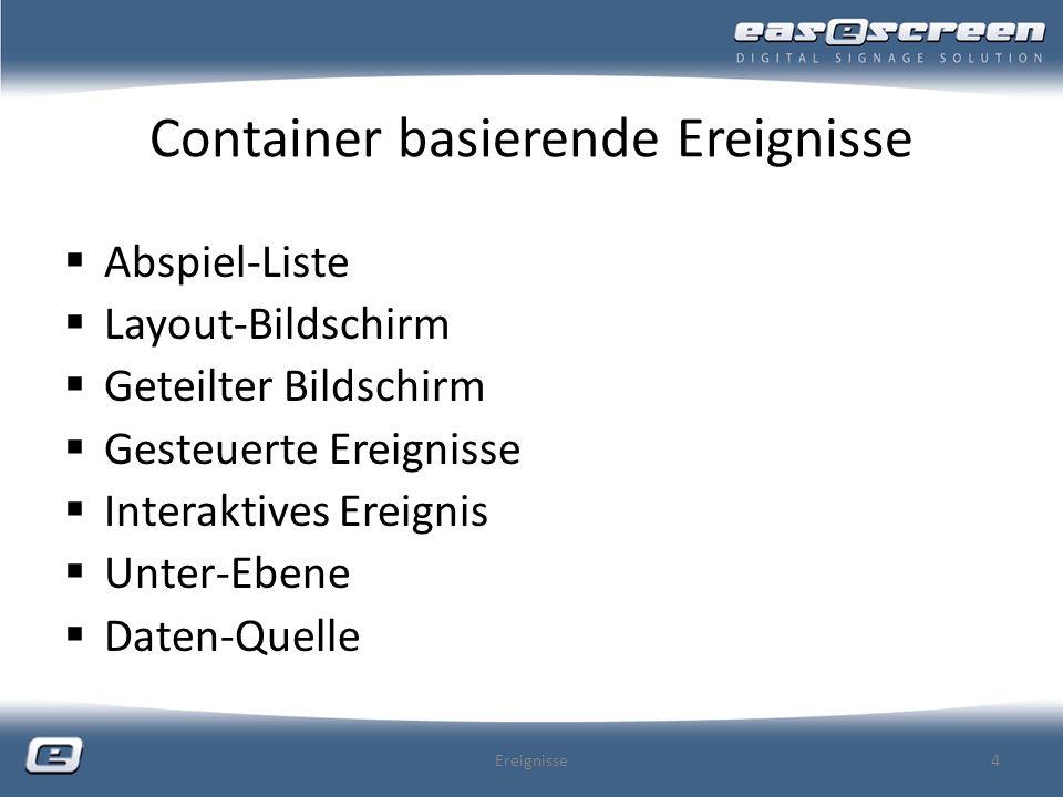 Container basierende Ereignisse Abspiel-Liste Layout-Bildschirm Geteilter Bildschirm Gesteuerte Ereignisse Interaktives Ereignis Unter-Ebene Daten-Que
