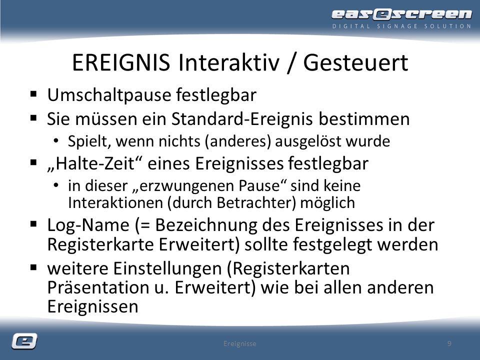 EREIGNIS Interaktiv / Gesteuert Interaktiv vs.