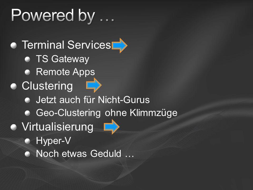 Terminal Services TS Gateway Remote Apps Clustering Jetzt auch für Nicht-Gurus Geo-Clustering ohne Klimmzüge Virtualisierung Hyper-V Noch etwas Geduld