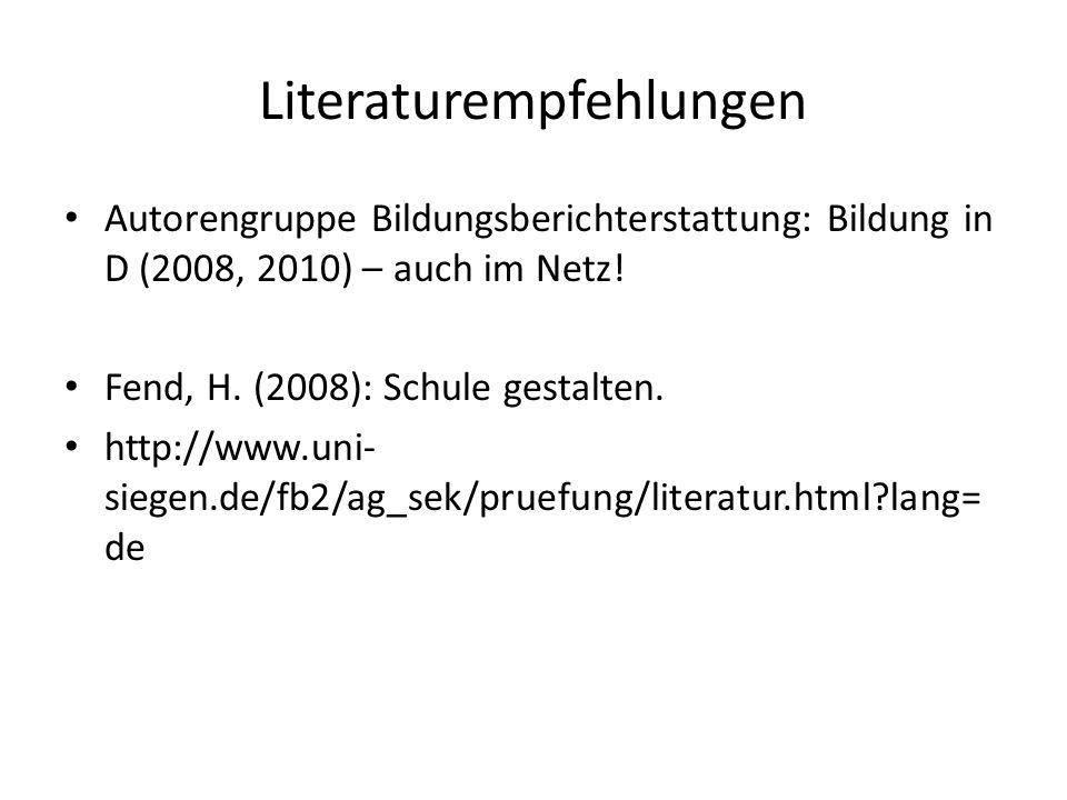 Literaturempfehlungen Autorengruppe Bildungsberichterstattung: Bildung in D (2008, 2010) – auch im Netz! Fend, H. (2008): Schule gestalten. http://www