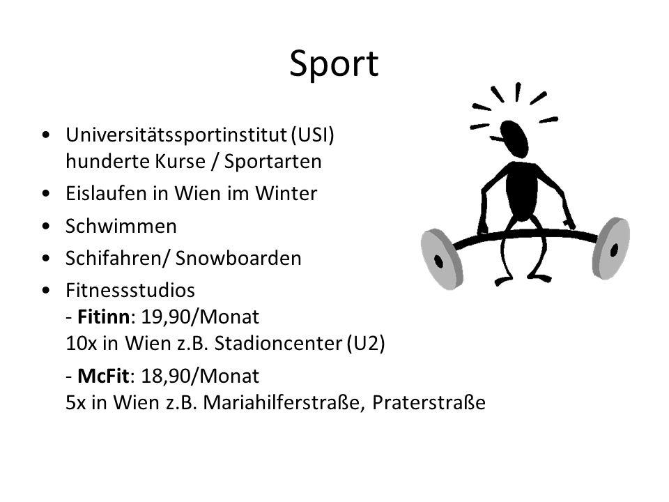 Sport Universitätssportinstitut (USI) hunderte Kurse / Sportarten Eislaufen in Wien im Winter Schwimmen Schifahren/ Snowboarden Fitnessstudios - Fitinn: 19,90/Monat 10x in Wien z.B.