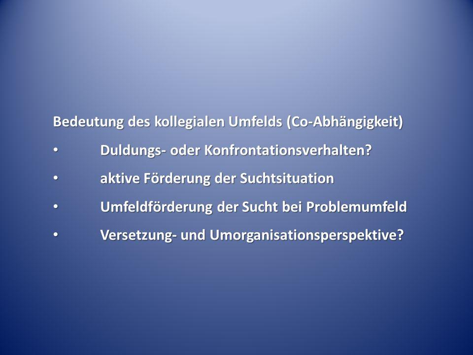 Bedeutung des kollegialen Umfelds (Co-Abhängigkeit) Duldungs- oder Konfrontationsverhalten? Duldungs- oder Konfrontationsverhalten? aktive Förderung d