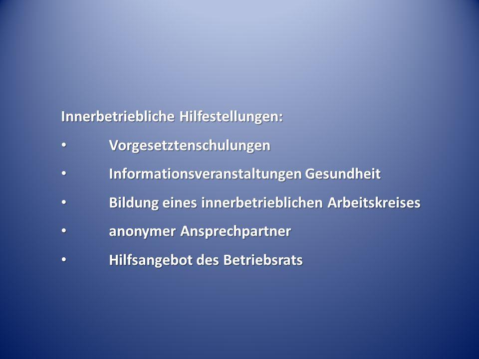 Innerbetriebliche Hilfestellungen: Vorgesetztenschulungen Vorgesetztenschulungen Informationsveranstaltungen Gesundheit Informationsveranstaltungen Ge