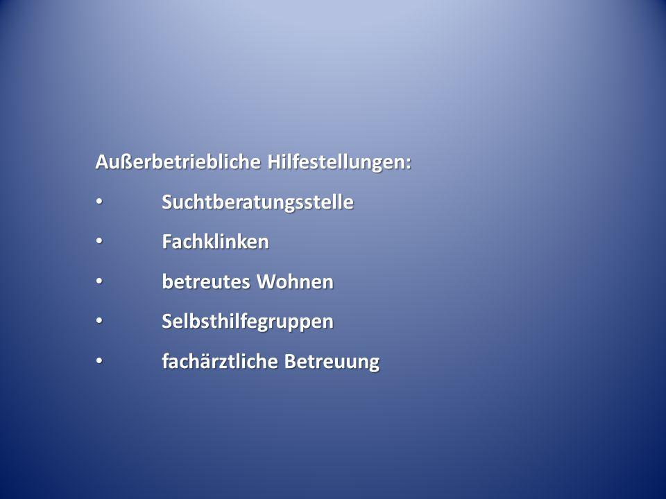Außerbetriebliche Hilfestellungen: Suchtberatungsstelle Suchtberatungsstelle Fachklinken Fachklinken betreutes Wohnen betreutes Wohnen Selbsthilfegrup