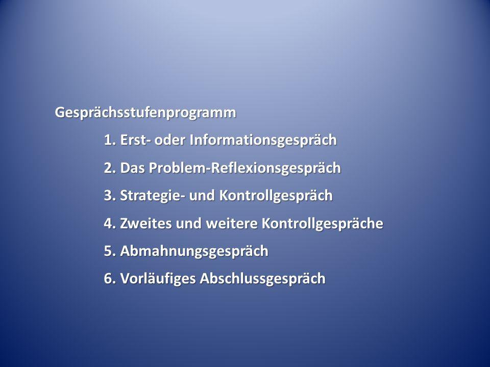 Gesprächsstufenprogramm 1. Erst- oder Informationsgespräch 2. Das Problem-Reflexionsgespräch 3. Strategie- und Kontrollgespräch 4. Zweites und weitere