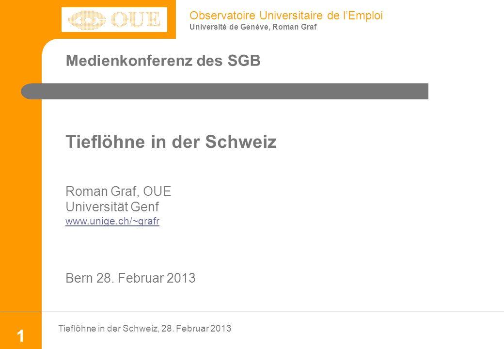 Observatoire Universitaire de lEmploi Université de Genève, Roman Graf Tieflöhne in der Schweiz, 28.