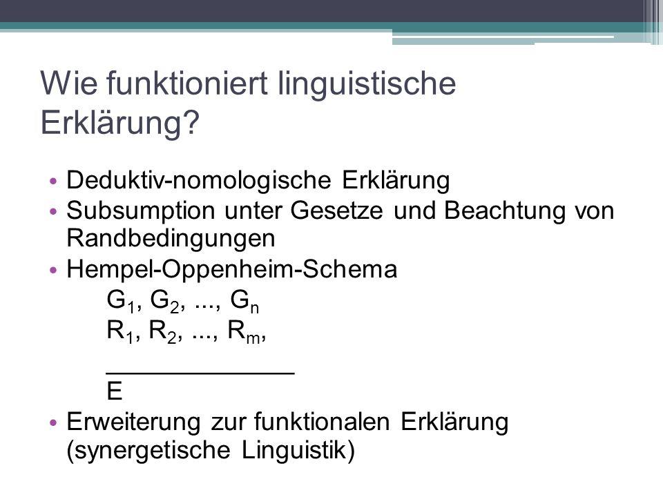 Wie funktioniert linguistische Erklärung? Deduktiv-nomologische Erklärung Subsumption unter Gesetze und Beachtung von Randbedingungen Hempel-Oppenheim
