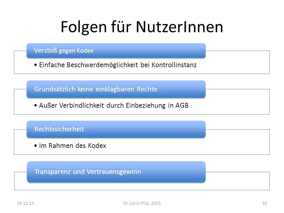 Folgen für NutzerInnen Einfache Beschwerdemöglichkeit bei Kontrollinstanz Verstoß gegen Kodex Dr. Carlo Piltz, 201319.12.1310 Außer Verbindlichkeit du