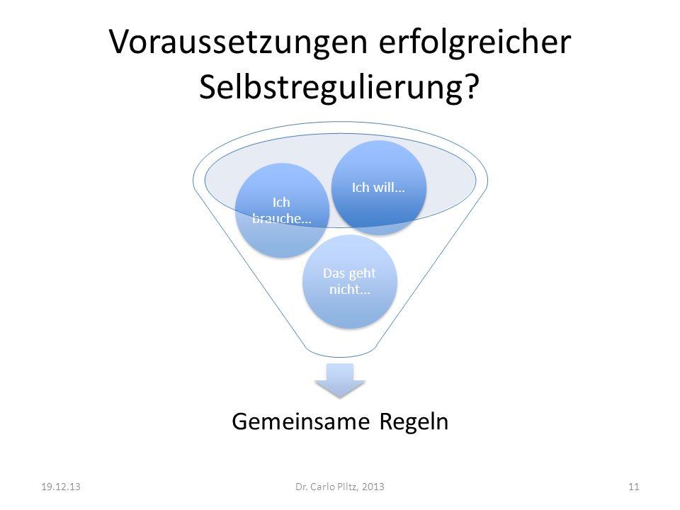 Voraussetzungen erfolgreicher Selbstregulierung? Gemeinsame Regeln Das geht nicht... Ich brauche... Ich will... Dr. Carlo Piltz, 201319.12.1311