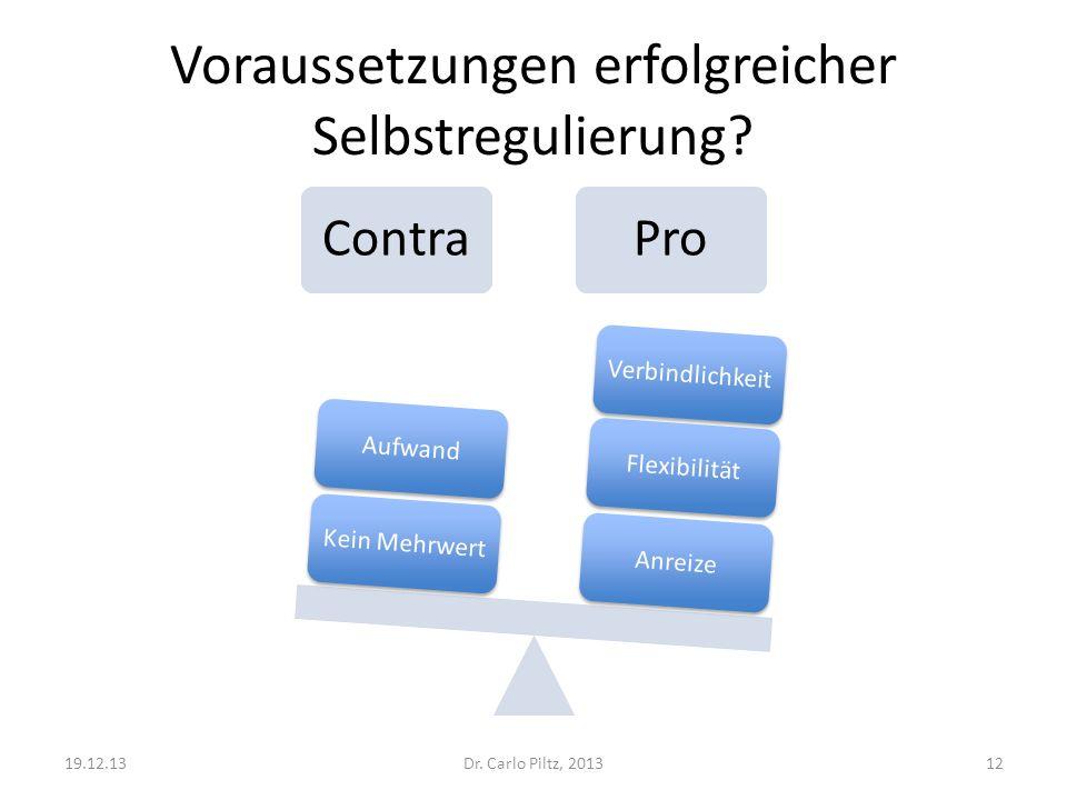 Voraussetzungen erfolgreicher Selbstregulierung? ContraPro AnreizeFlexibilitätVerbindlichkeitKein MehrwertAufwand Dr. Carlo Piltz, 201319.12.1312