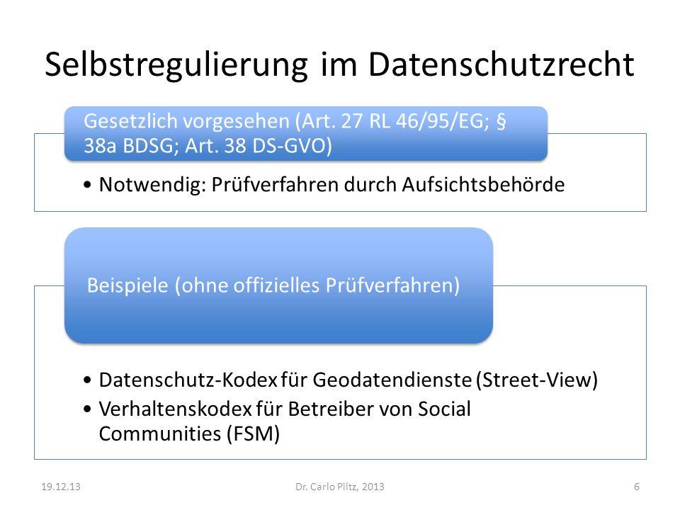 Selbstregulierung im Datenschutzrecht Datenschutz-Kodex für Geodatendienste (Street-View) Verhaltenskodex für Betreiber von Social Communities (FSM) Beispiele (ohne offizielles Prüfverfahren) Dr.