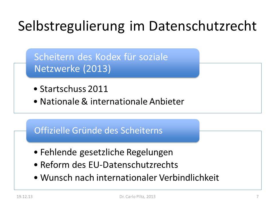 Selbstregulierung im Datenschutzrecht Startschuss 2011 Nationale & internationale Anbieter Scheitern des Kodex für soziale Netzwerke (2013) Dr. Carlo