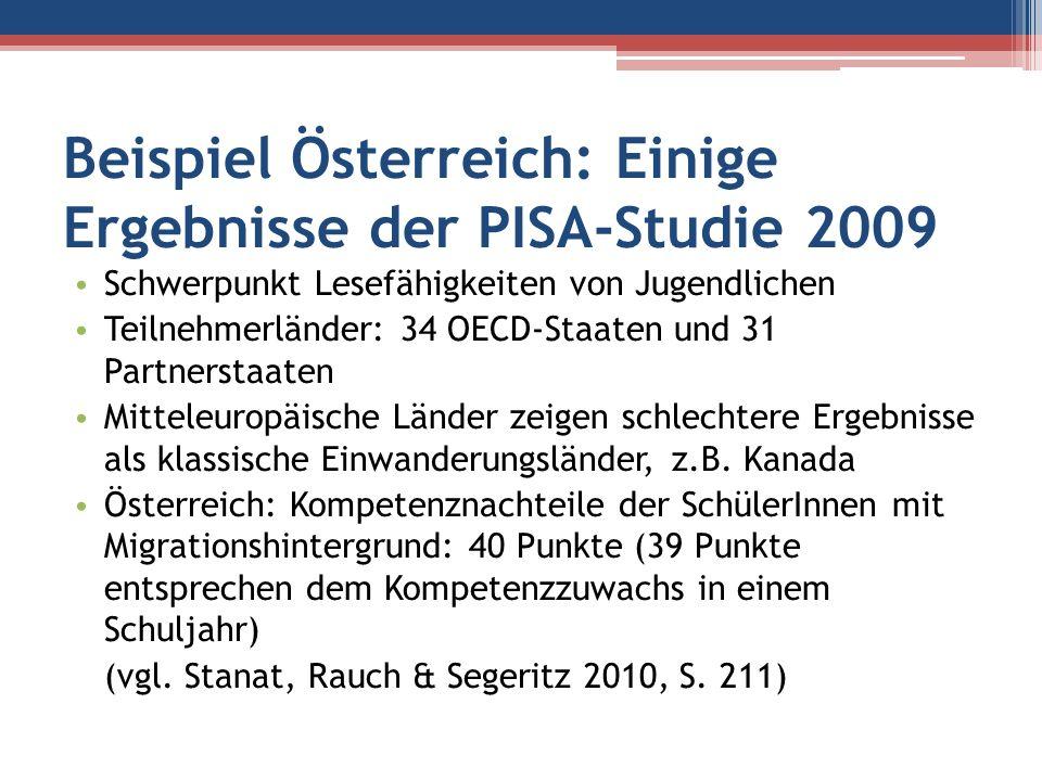 Beispiel Österreich: Einige Ergebnisse der PISA-Studie 2009 Schwerpunkt Lesefähigkeiten von Jugendlichen Teilnehmerländer: 34 OECD-Staaten und 31 Part