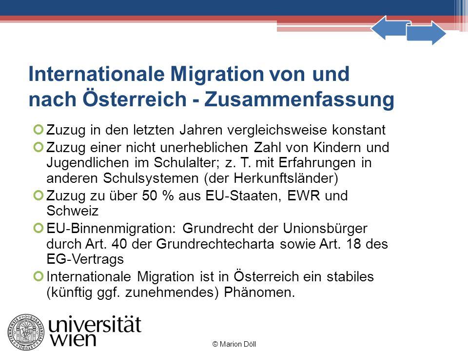 Internationale Migration von und nach Österreich - Zusammenfassung Zuzug in den letzten Jahren vergleichsweise konstant Zuzug einer nicht unerhebliche