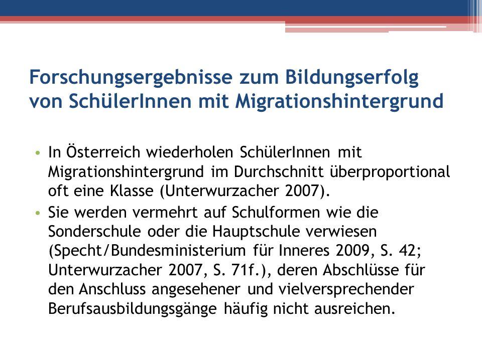 Forschungsergebnisse zum Bildungserfolg von SchülerInnen mit Migrationshintergrund In Österreich wiederholen SchülerInnen mit Migrationshintergrund im