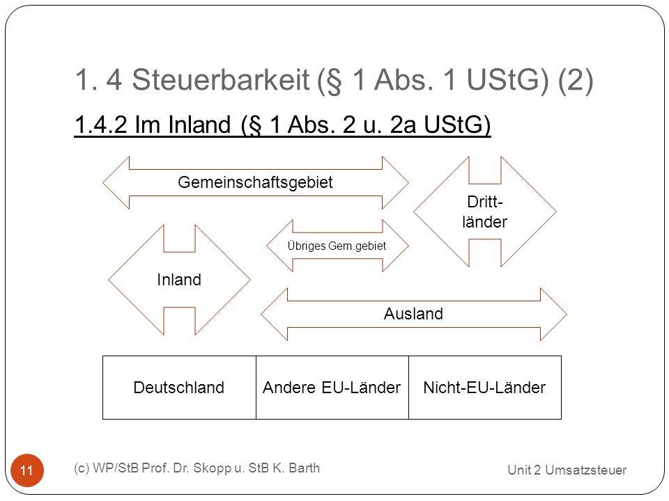 1. 4 Steuerbarkeit (§ 1 Abs. 1 UStG) (2) Unit 2 Umsatzsteuer (c) WP/StB Prof. Dr. Skopp u. StB K. Barth 11 1.4.2 Im Inland (§ 1 Abs. 2 u. 2a UStG) Deu