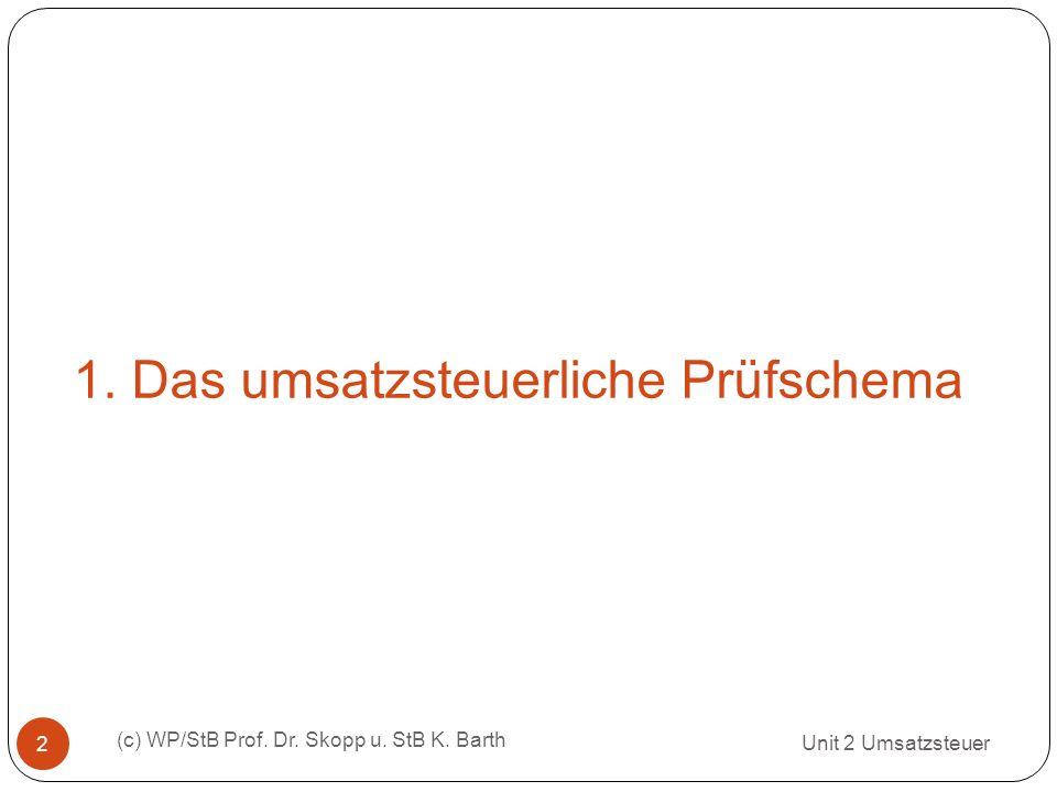 1.Das umsatzsteuerliche Prüfschema Unit 2 Umsatzsteuer (c) WP/StB Prof.