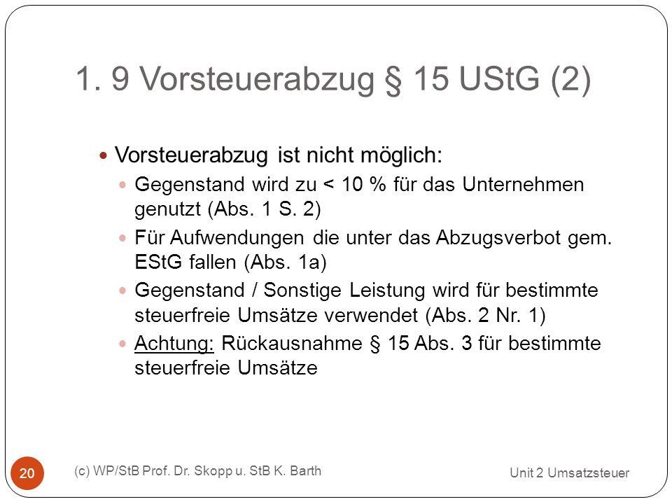 1. 9 Vorsteuerabzug § 15 UStG (2) Unit 2 Umsatzsteuer (c) WP/StB Prof. Dr. Skopp u. StB K. Barth 20 Vorsteuerabzug ist nicht möglich: Gegenstand wird