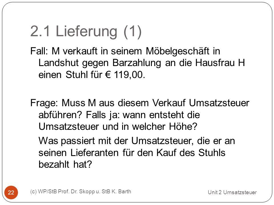 2.1 Lieferung (1) Unit 2 Umsatzsteuer (c) WP/StB Prof. Dr. Skopp u. StB K. Barth 22 Fall: M verkauft in seinem Möbelgeschäft in Landshut gegen Barzahl