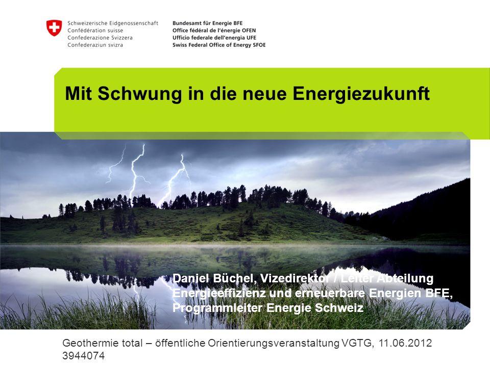 22 Massnahmen: Transparenzvorschrift Bonus-Malus-System für Energieversorgungs- unternehmen prüfen Energieversorgungsunternehmen (EVUs) Axpo Geothermie total – öffentliche Orientierungsveranstaltung VGTG, 11.06.2012, Daniel Büchel