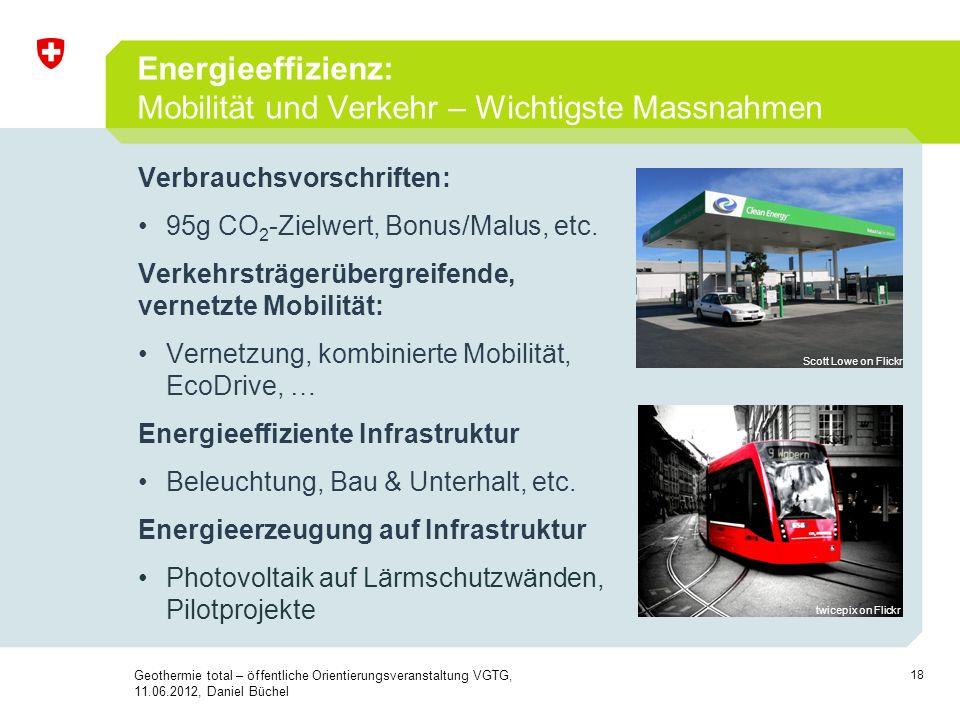 18 Verbrauchsvorschriften: 95g CO 2 -Zielwert, Bonus/Malus, etc. Verkehrsträgerübergreifende, vernetzte Mobilität: Vernetzung, kombinierte Mobilität,