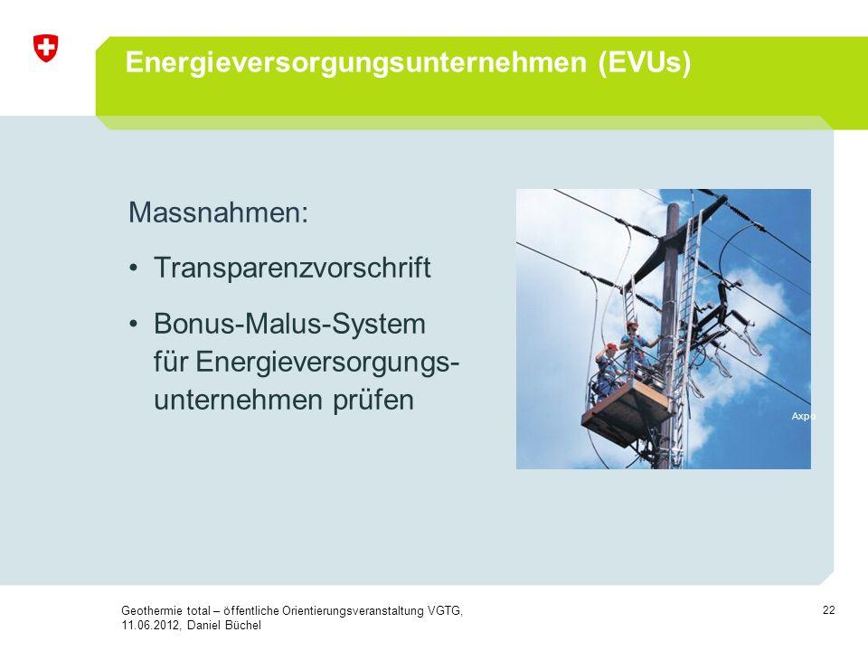 22 Massnahmen: Transparenzvorschrift Bonus-Malus-System für Energieversorgungs- unternehmen prüfen Energieversorgungsunternehmen (EVUs) Axpo Geothermi