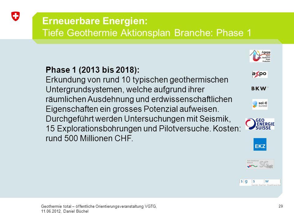 29 Erneuerbare Energien: Tiefe Geothermie Aktionsplan Branche: Phase 1 Geothermie total – öffentliche Orientierungsveranstaltung VGTG, 11.06.2012, Dan