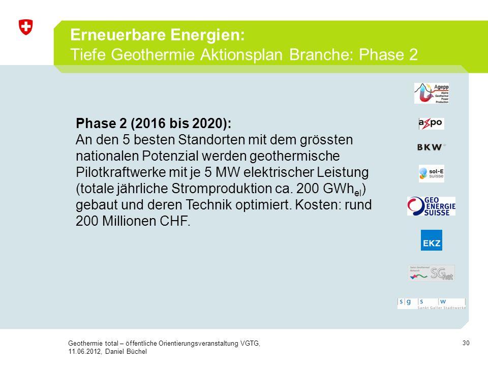 30 Erneuerbare Energien: Tiefe Geothermie Aktionsplan Branche: Phase 2 Geothermie total – öffentliche Orientierungsveranstaltung VGTG, 11.06.2012, Dan