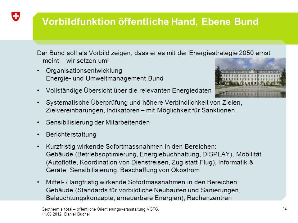 34 Vorbildfunktion öffentliche Hand, Ebene Bund Der Bund soll als Vorbild zeigen, dass er es mit der Energiestrategie 2050 ernst meint – wir setzen um