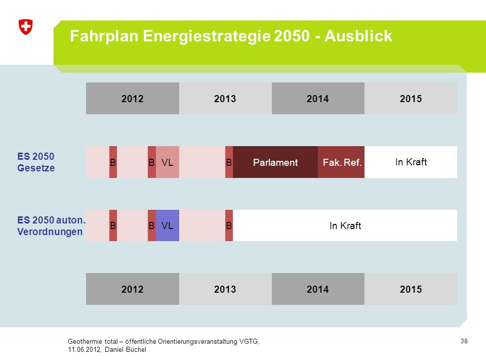 38 Fahrplan Energiestrategie 2050 - Ausblick 2012201320142015 ES 2050 Gesetze B BVL BParlament Fak. Ref.In Kraft ES 2050 auton. Verordnungen B BVL BIn