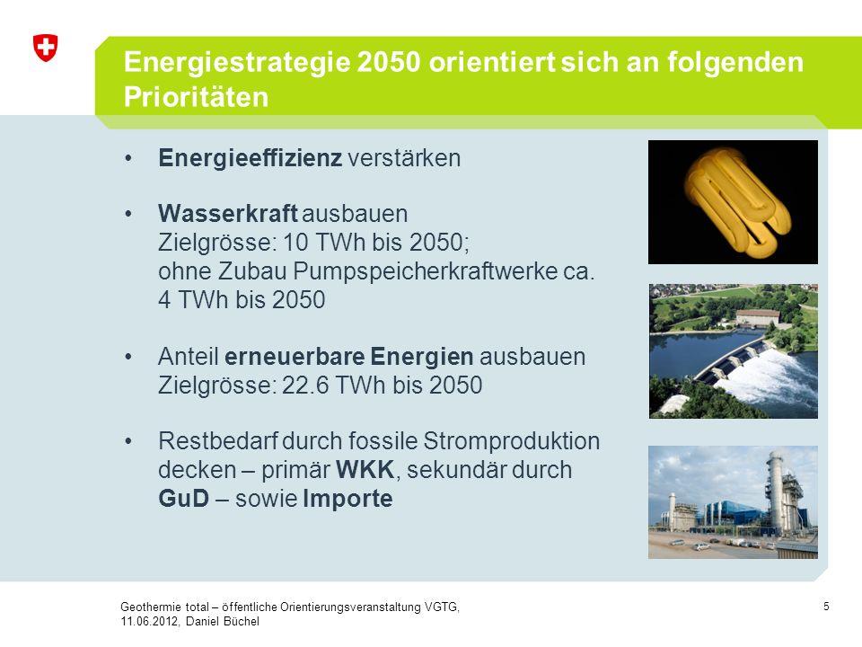 5 Energiestrategie 2050 orientiert sich an folgenden Prioritäten Energieeffizienz verstärken Wasserkraft ausbauen Zielgrösse: 10 TWh bis 2050; ohne Zu