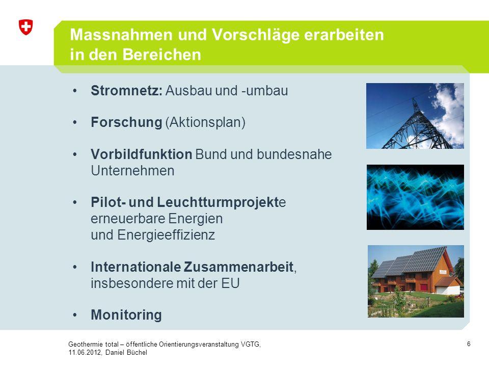 6 Massnahmen und Vorschläge erarbeiten in den Bereichen Stromnetz: Ausbau und -umbau Forschung (Aktionsplan) Vorbildfunktion Bund und bundesnahe Unter