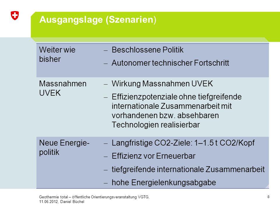 8 Ausgangslage (Szenarien) Weiter wie bisher Beschlossene Politik Autonomer technischer Fortschritt Massnahmen UVEK Wirkung Massnahmen UVEK Effizienzp