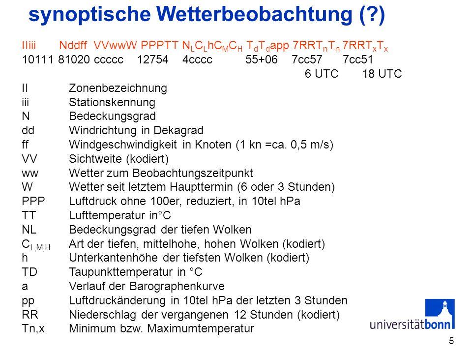5 synoptische Wetterbeobachtung (?) IIiii Nddff VVwwW PPPTT N L C L hC M C H T d T d app 7RRT n T n 7RRT x T x 10111 81020 ccccc 12754 4cccc 55+06 7cc57 7cc51 6 UTC 18 UTC IIZonenbezeichnung iiiStationskennung NBedeckungsgrad ddWindrichtung in Dekagrad ffWindgeschwindigkeit in Knoten (1 kn =ca.