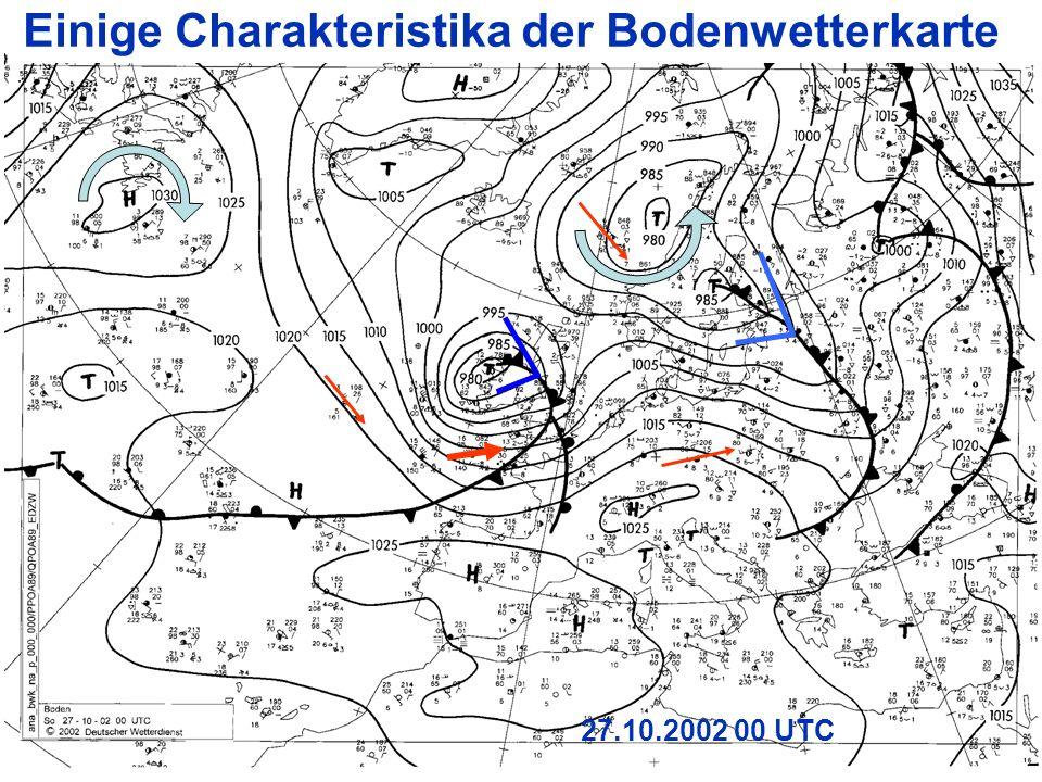 7 27.10.2002 00 UTC Einige Charakteristika der Bodenwetterkarte