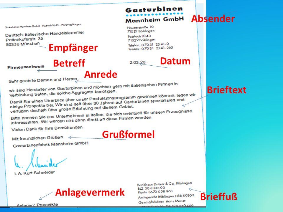 Absender Empfänger Betreff Datum Anrede Brieftext Grußformel Anlagevermerk Brieffuß